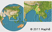 Physical Location Map of Burma, satellite outside