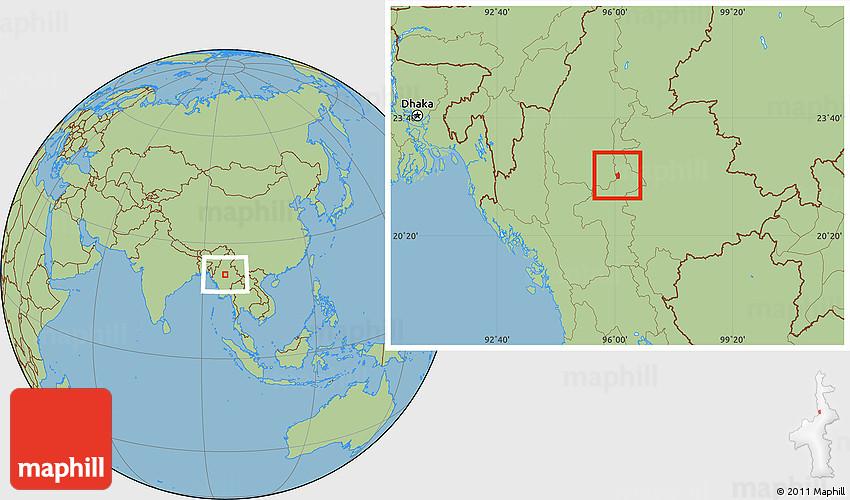 Savanna Style Location Map of Mandalay