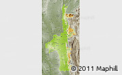 Physical Map of Mandalay, semi-desaturated