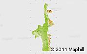 Physical Map of Mandalay, single color outside