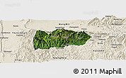 Satellite Panoramic Map of Mogok, shaded relief outside