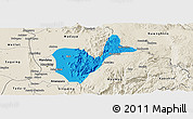 Political Panoramic Map of Patheingyi, shaded relief outside
