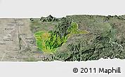 Satellite Panoramic Map of Patheingyi, semi-desaturated