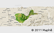 Satellite Panoramic Map of Patheingyi, shaded relief outside