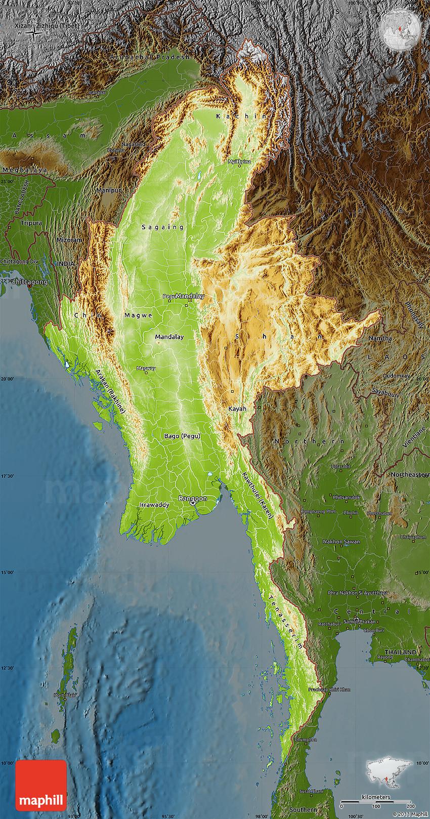 Physical Map of Burma, darken