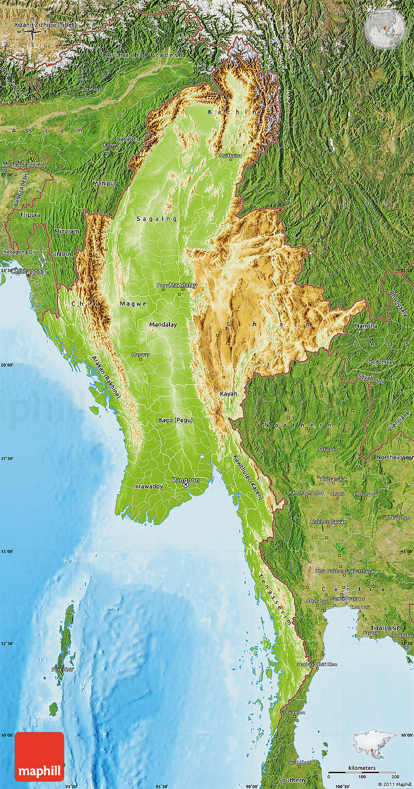 Physical Map of Burma, satellite outside, shaded relief sea