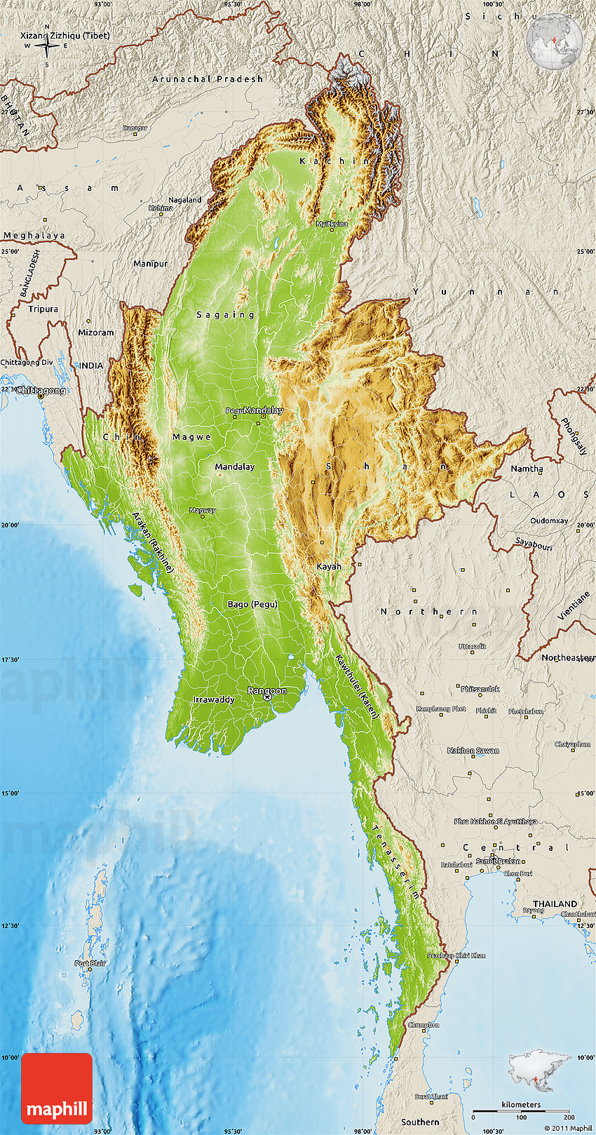 Physical Map of Burma, shaded relief outside
