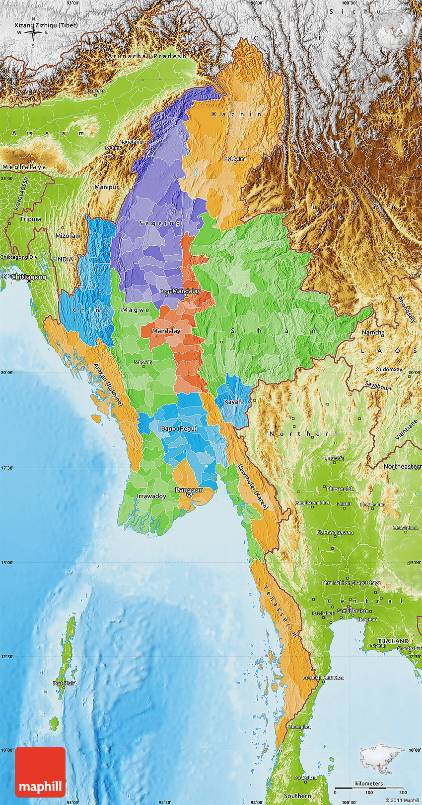 Political Map of Burma, physical outside