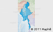 Political Shades Map of Burma, lighten
