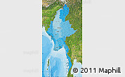 Political Shades Map of Burma, satellite outside, bathymetry sea
