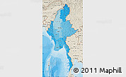 Political Shades Map of Burma, shaded relief outside, bathymetry sea