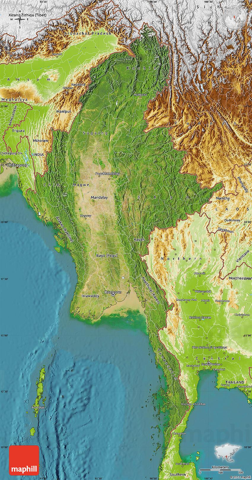 myanmar physical map - 28 images - myanmar map and myanmar satellite ...