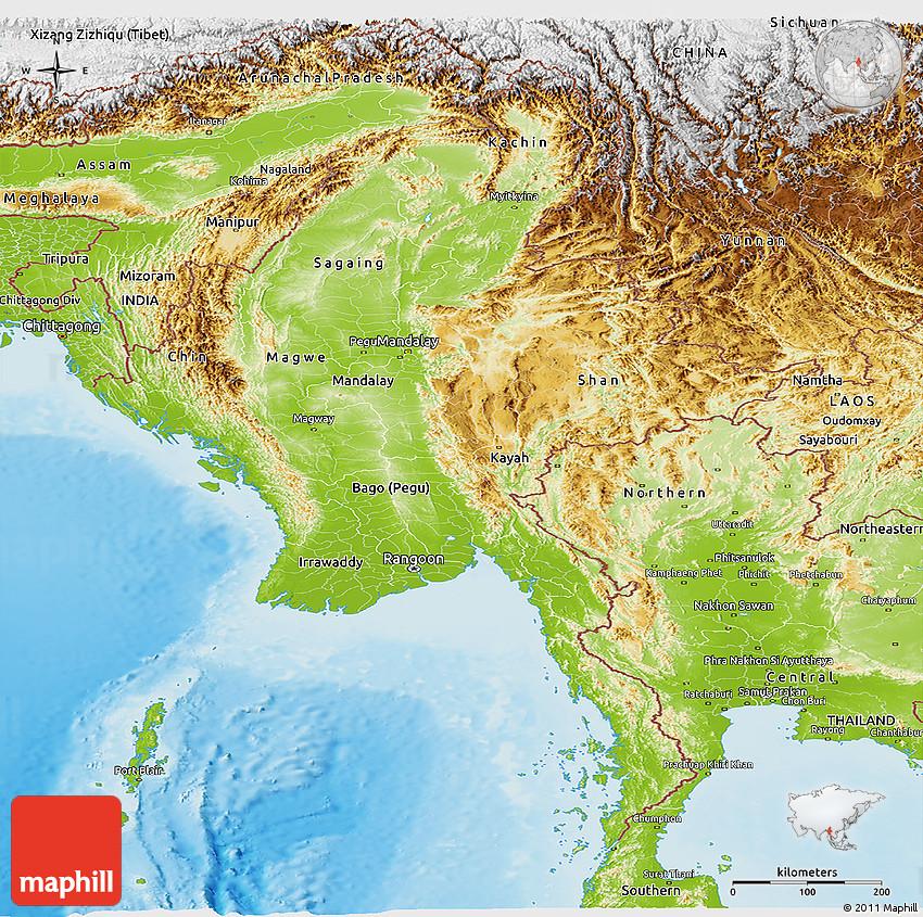 Physical Panoramic Map Of Burma - Map of burma