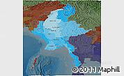 Political Shades Panoramic Map of Burma, darken