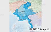 Political Shades Panoramic Map of Burma, lighten