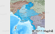 Political Shades Panoramic Map of Burma, semi-desaturated, land only