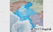 Political Shades Panoramic Map of Burma, semi-desaturated