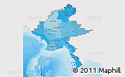 Political Shades Panoramic Map of Burma, single color outside