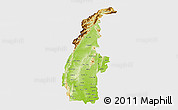 Physical 3D Map of Sagaing, single color outside