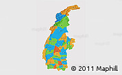 Political 3D Map of Sagaing, cropped outside