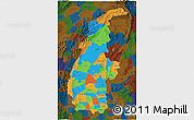 Political 3D Map of Sagaing, darken
