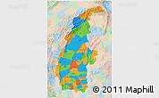 Political 3D Map of Sagaing, lighten
