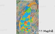 Political 3D Map of Sagaing, semi-desaturated
