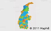 Political 3D Map of Sagaing, single color outside