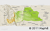 Physical Panoramic Map of Kani, shaded relief outside
