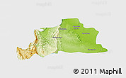Physical Panoramic Map of Kani, single color outside