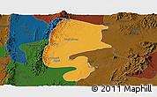 Political Panoramic Map of Katha, darken