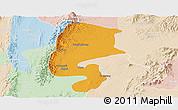 Political Panoramic Map of Katha, lighten