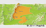 Political Panoramic Map of Katha, physical outside