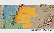 Political Panoramic Map of Katha, semi-desaturated