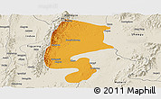 Political Panoramic Map of Katha, shaded relief outside