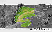 Satellite Panoramic Map of Katha, desaturated