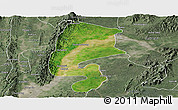 Satellite Panoramic Map of Katha, semi-desaturated