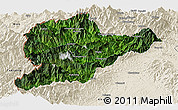 Satellite Panoramic Map of Lahe, shaded relief outside