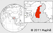 Blank Location Map of Sagaing, highlighted country