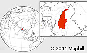 Blank Location Map of Sagaing