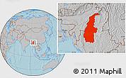 Gray Location Map of Sagaing, hill shading