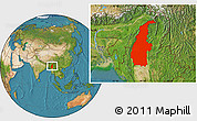 Satellite Location Map of Sagaing