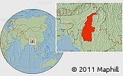 Savanna Style Location Map of Sagaing, hill shading