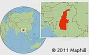 Savanna Style Location Map of Sagaing