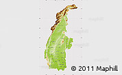Physical Map of Sagaing, cropped outside