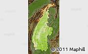 Physical Map of Sagaing, darken