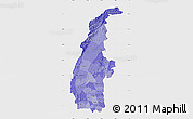 Political Shades Map of Sagaing, single color outside