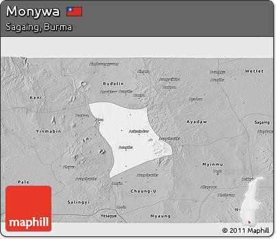 Free Gray 3D Map of Monywa