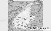 Gray Panoramic Map of Sagaing