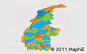Political Panoramic Map of Sagaing, cropped outside